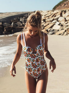 Printed Halter One Piece Swimsuit