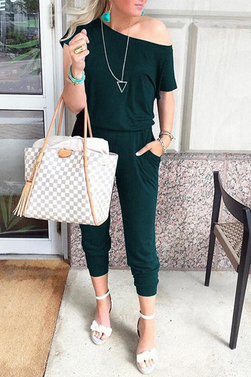 Off-the-shoulder Short-sleeved Jumpsuit