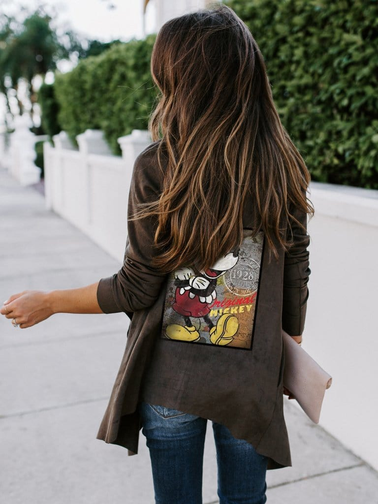 Women's Mickey Mouse Print Fashion Coat
