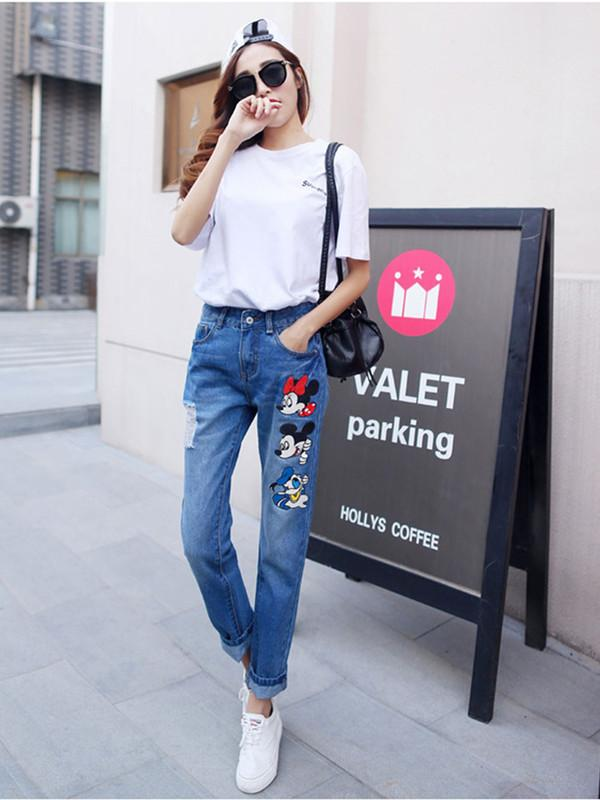 High waist cartoon jeans