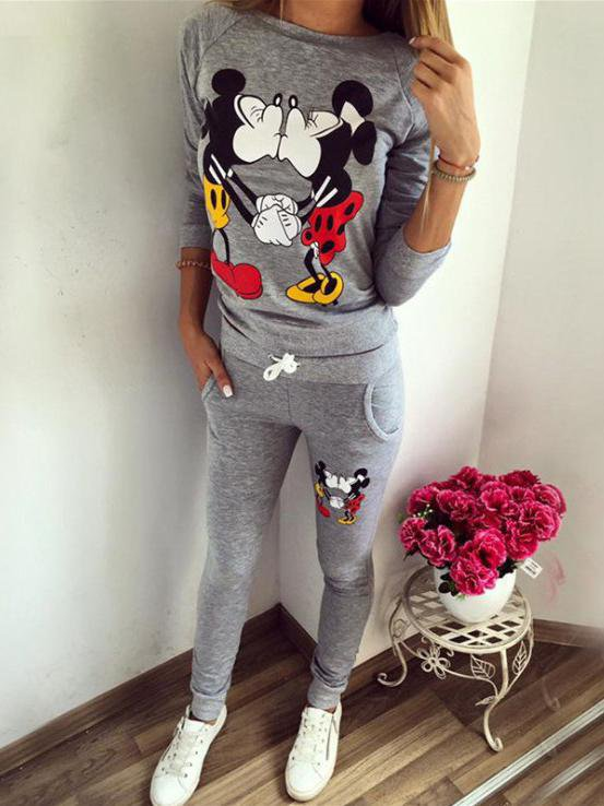 Mickey printing leisure sport suit