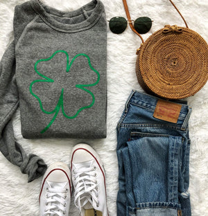 Four-Leaf Clover Printed Lucky Sweatshirt