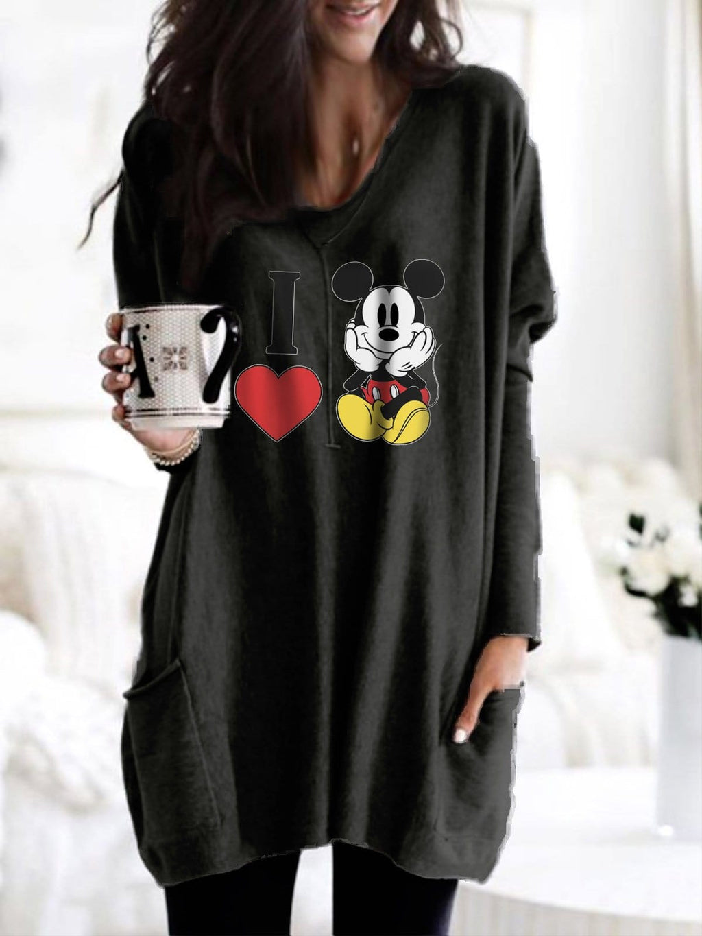 Mickey Mouse Print Dress With Long Sleeves