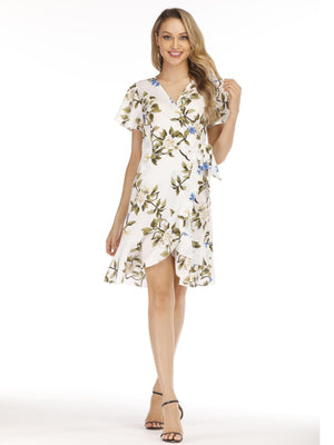 Printing Bandage  Short Sleeve Dress