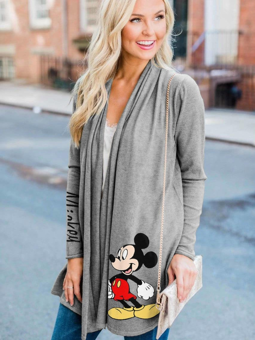 Women's  Mickey Mouse Printed Casual Cardigan