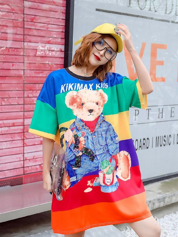 Fashion Cartoon Printing Loose Dress