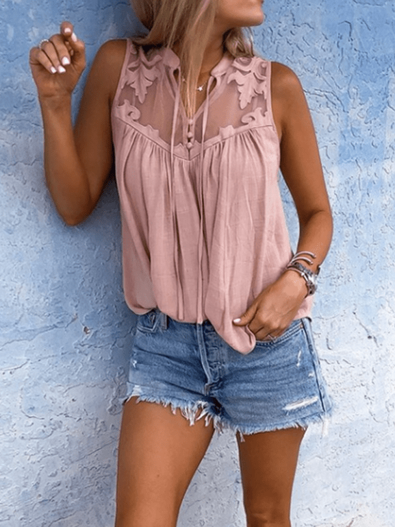 Solid Color Sleeveless Blouse