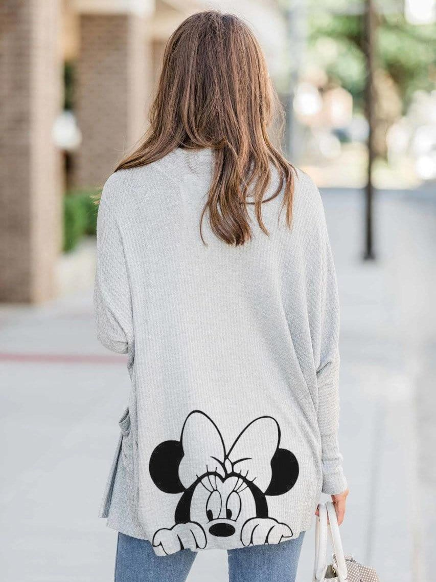 Women Mickey Mouse Pocket Fashion Cardigan