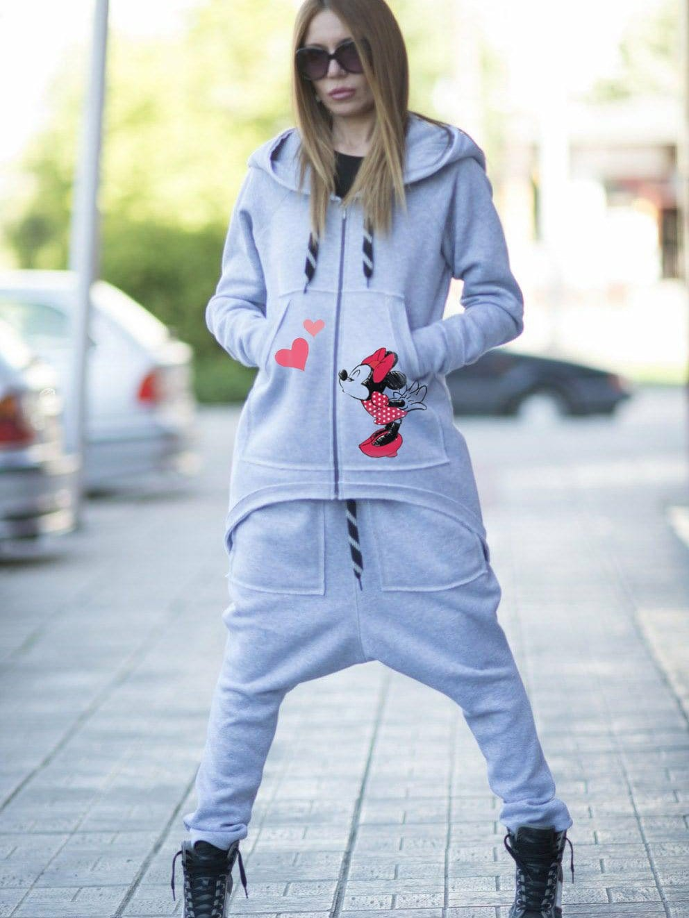 Women Mickey Mouse Long Zipper Coat With Pocket