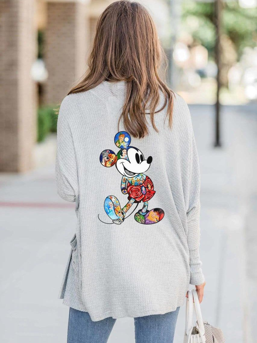 Women Mickey Mouse Pocket Cardigan Coat