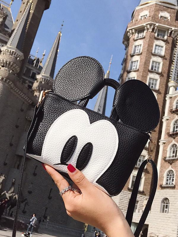 Mickey Mouse Embroidery Contrast Color Stitching Cartoon Single-Shoulder Bag