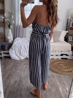 Fashion Sexy Sleeveless Stripe Jumpsuits