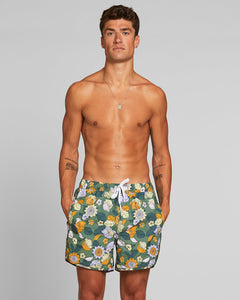 Swim Shorts Sandhamn Seventies Floral Green