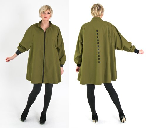 WINTER SWING CLASSIC WITH COLLAR. Olive.