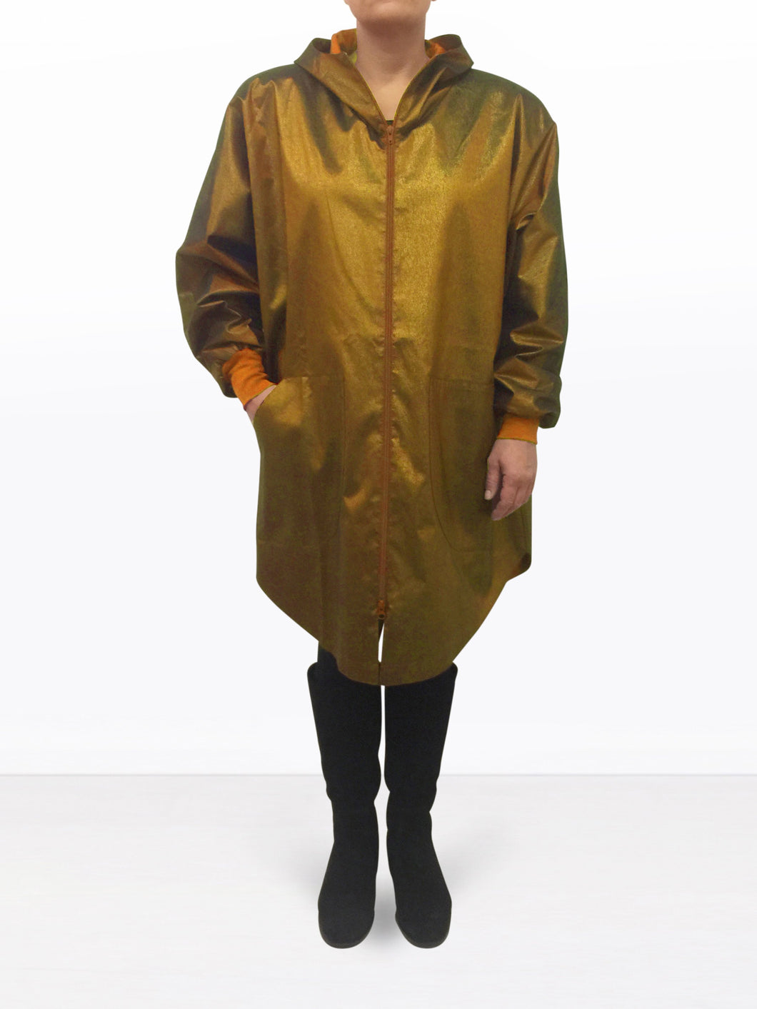 MOON JACKET SHINE GOLD WITH HOOD.
