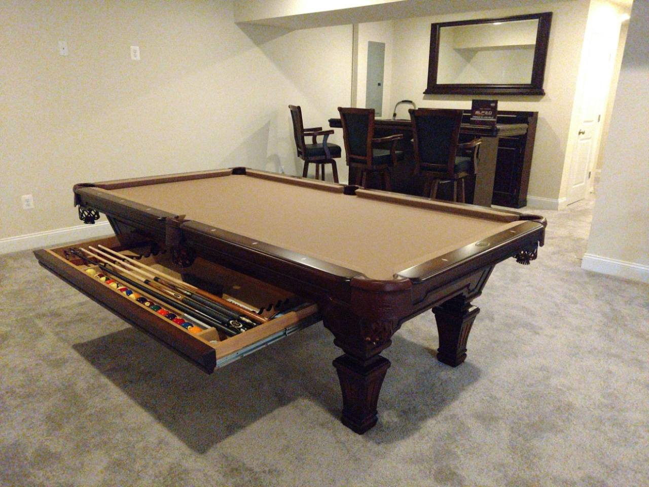 Olhausen Hampton Pool Table installed in Bowie Maryland