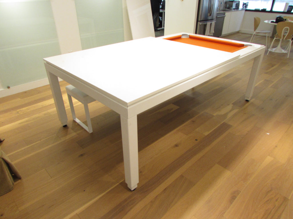 aramith fusion dining pool table white powder coat end