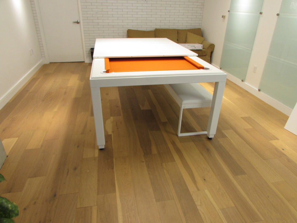 aramith fusion dining pool table white powder coat orange cloth