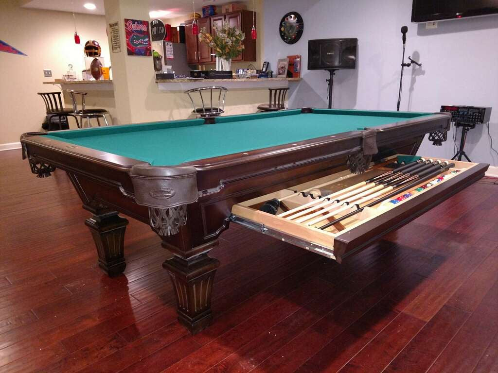 Olhausen hampton pool table heritage cherry finish drawer