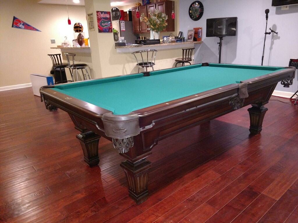 Olhausen hampton pool table heritage cherry finish detail