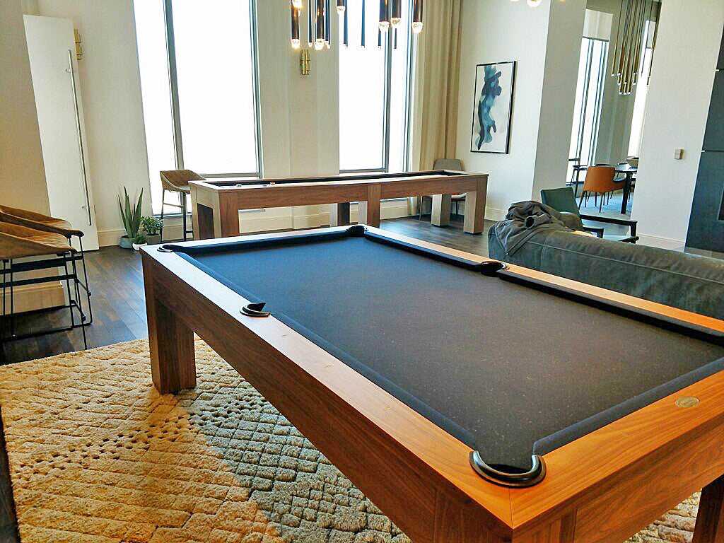 Olhausen Madison pool table and shuffleboard table in walnut