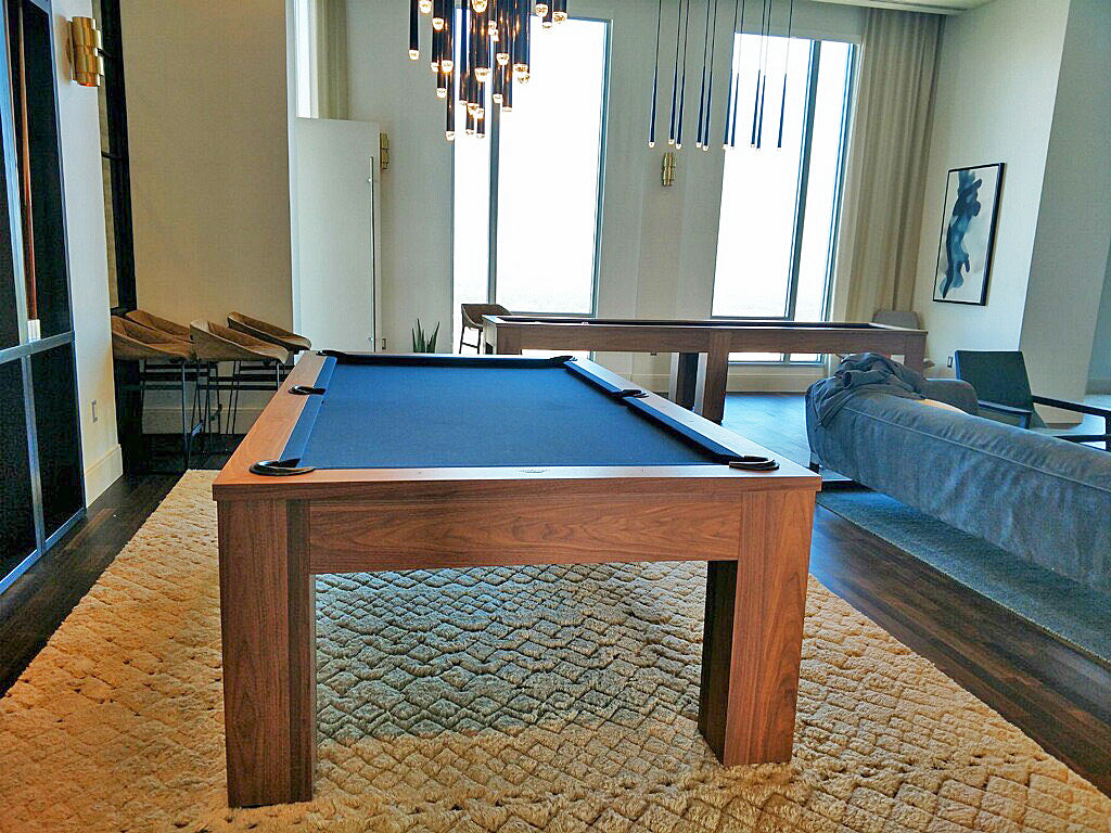 Olhausen Madison pool table end view solid walnut black cloth