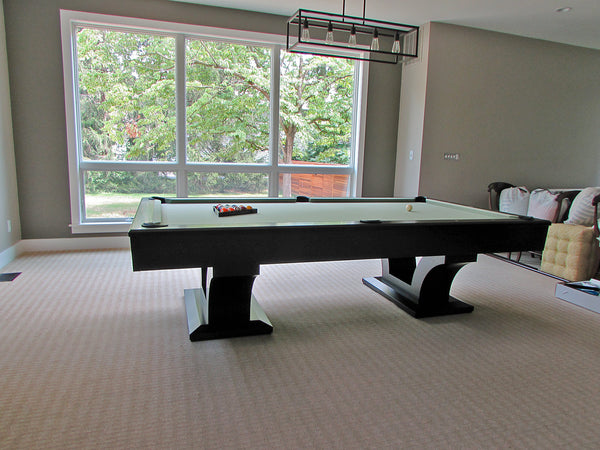 alexandria pool table black lacquer finish side view