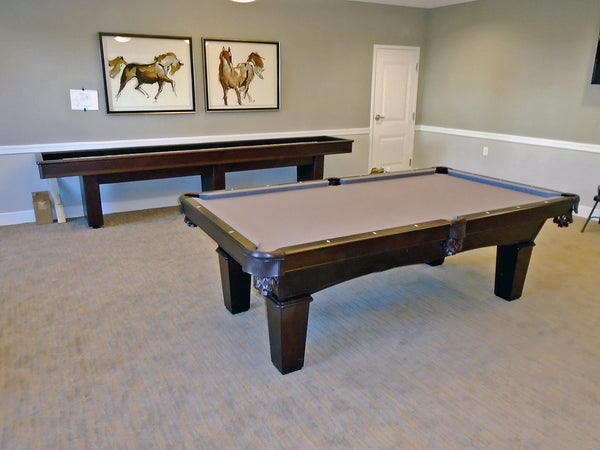 olhausen grace pool table with matching york shuffleboard table