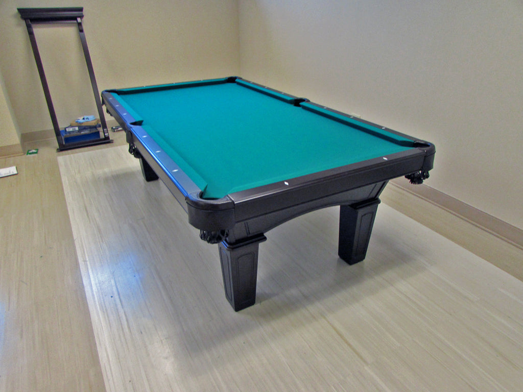 olhausen reno pool table with matching wall cue rack