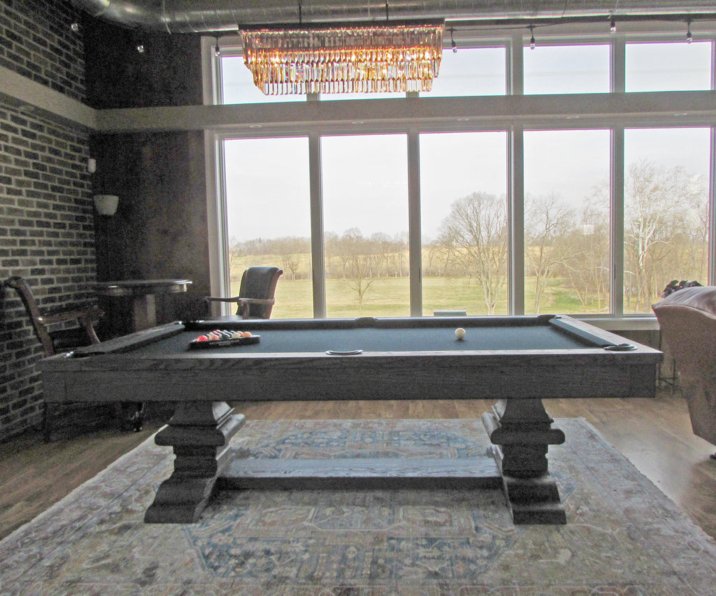 Plank and Hide Beaumont Pool Table Silvered Oak side