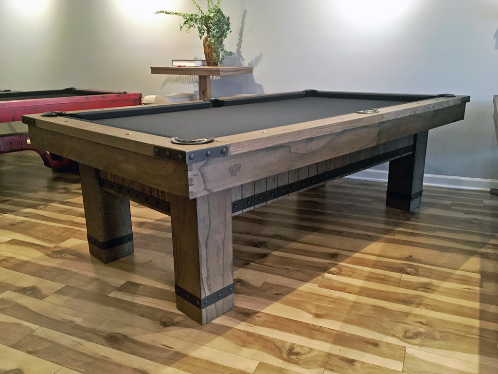 Plank and Hide Morse pool table barnwood finish