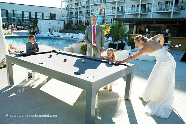 Storm outdoor pool table action shot