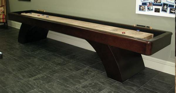 waterfall shuffleboard table espresso on maple