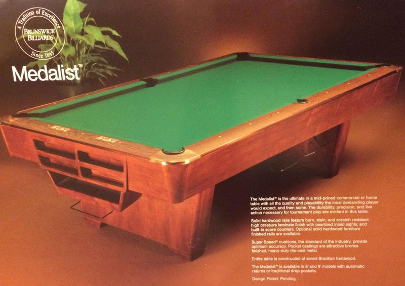 used brunswick medalist pool table stock