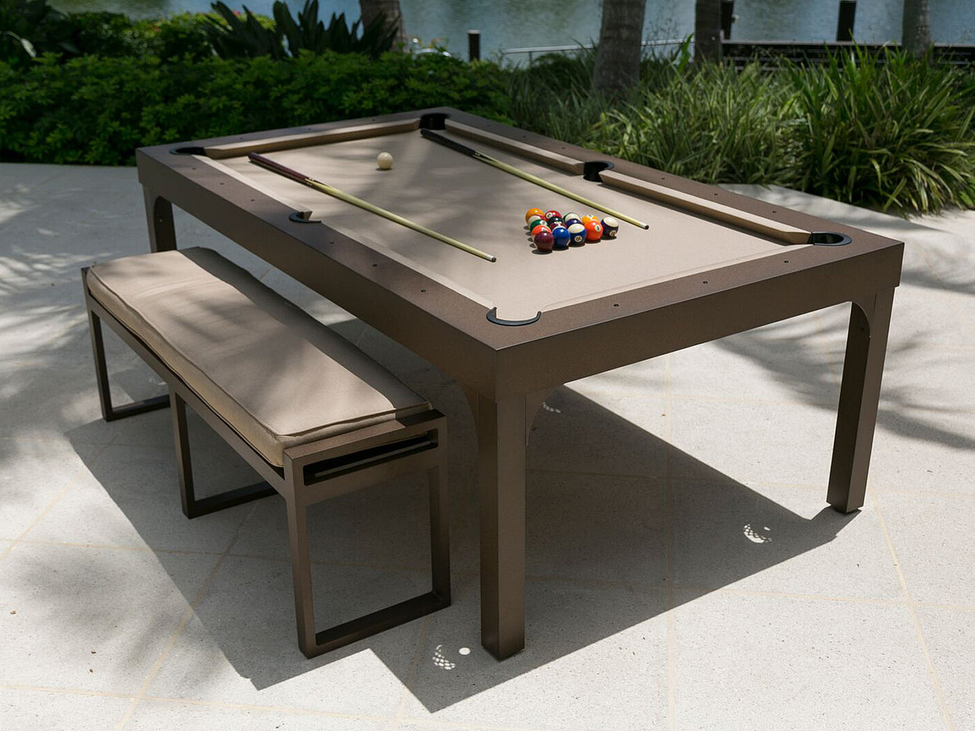 The Balcony Outdoor Pool Table Robbies Billiards - Pool dining table with bench