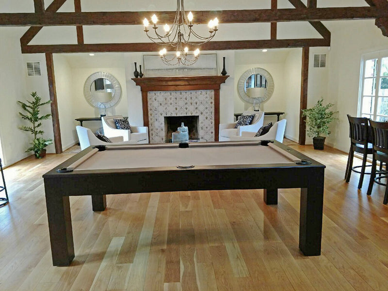 Custom Dining Pool Table 8' Khaki Cloth side view 2