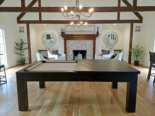 Custom Dining Pool Table 8' Khaki Cloth side view with top