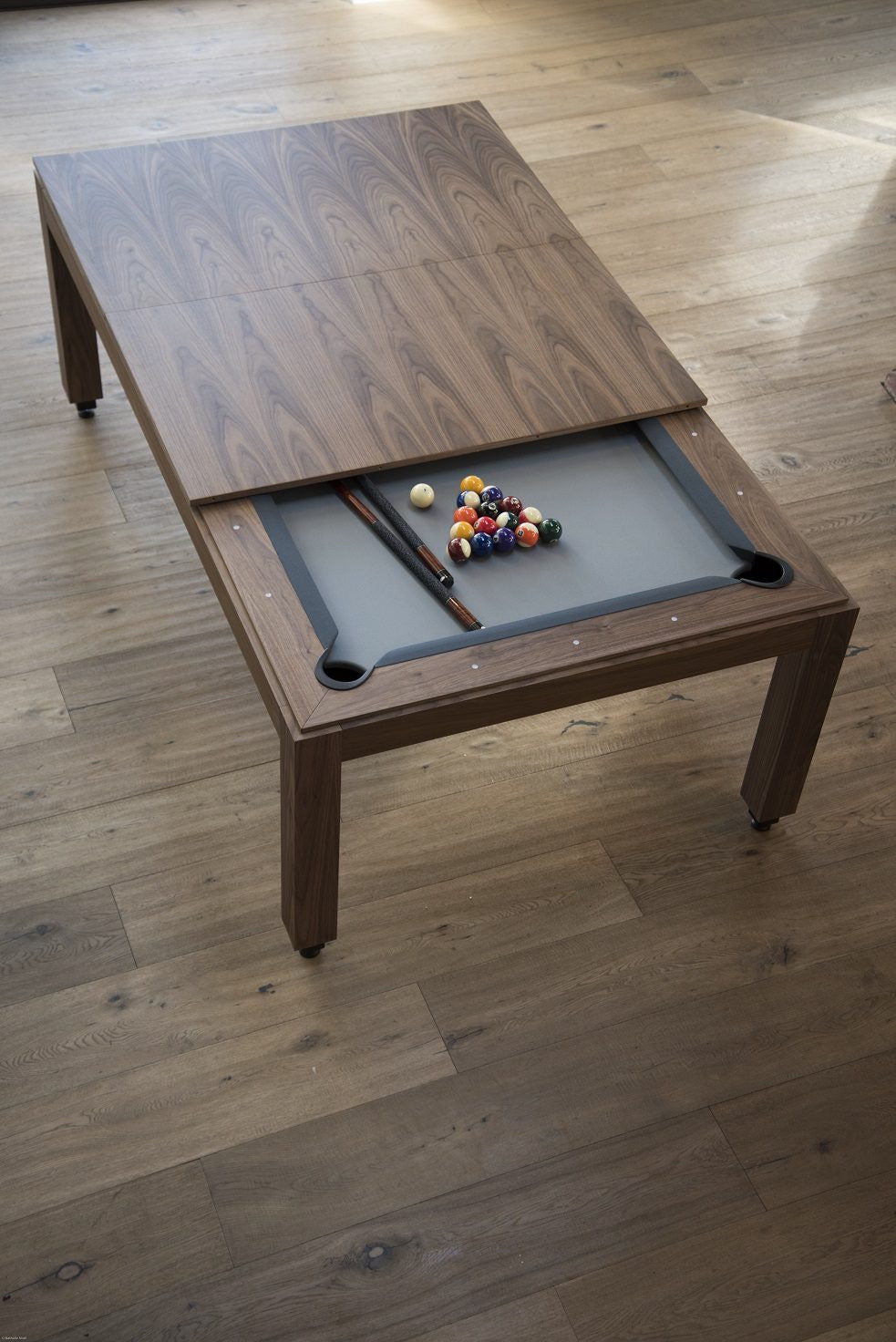 Ordinaire ... Fusion Wood Line Dining Pool Table Walnut Top ...