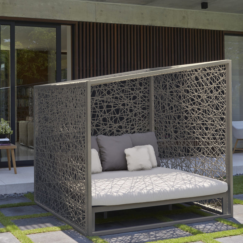 geometric daybed silver walnut side view