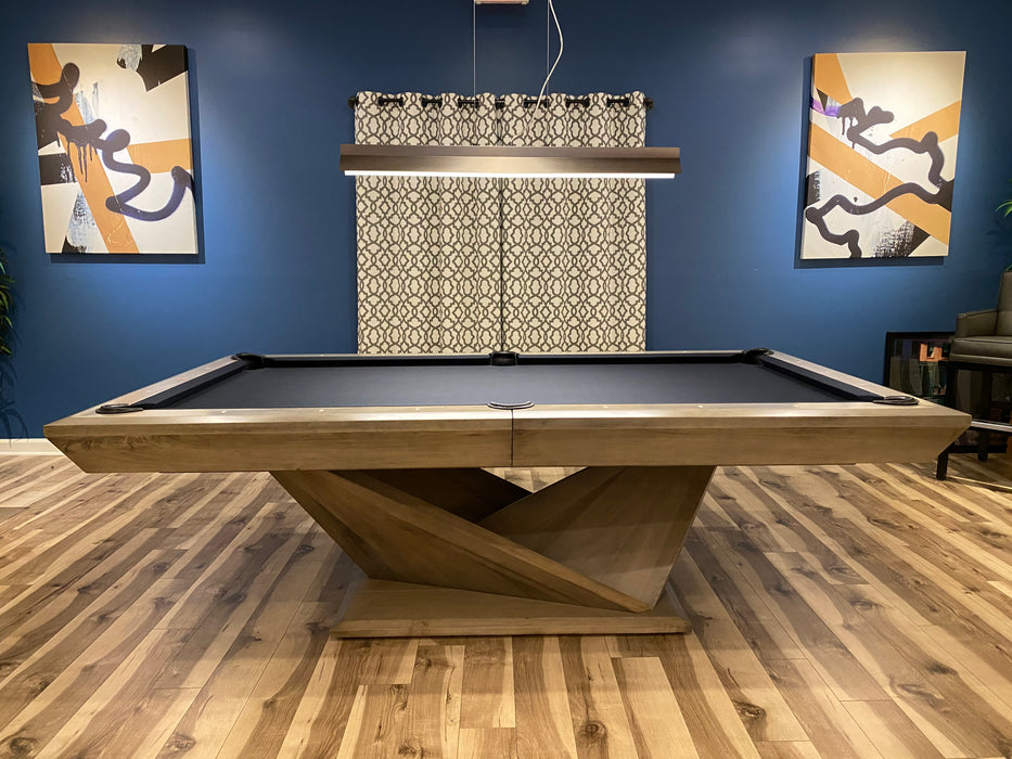 California house origami pool table smoke finish distressed and glazed