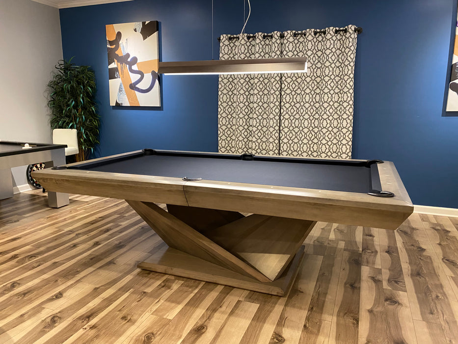 California house origami pool table smoke finish distressed and glazed 2