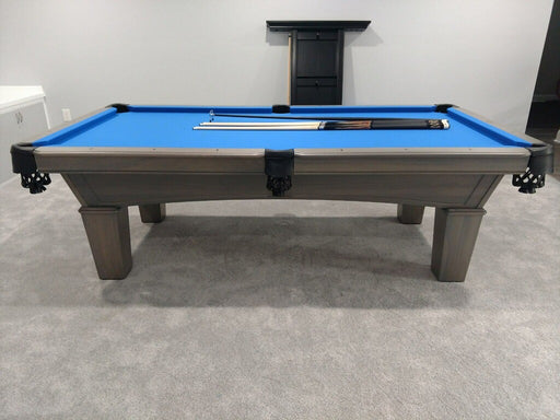 olhausen grace pool table matte fossil grey euro blue cloth side2