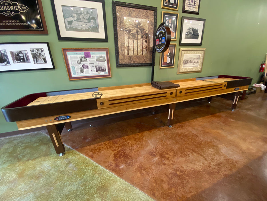 used 16' grand hudson deluxe shuffleboard table side