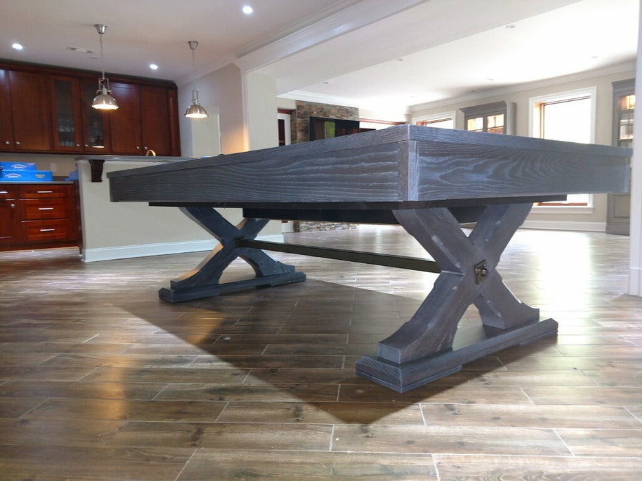 olhausen tustin pool table weathered oak base detail