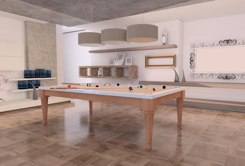 Italia Tre pool table natural beech white lacquer stock