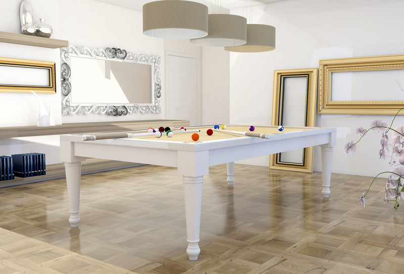 Italia Tre Pool Table White Lacquer stock