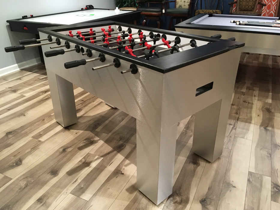 Modern Foosball Table Brushed Aluminum main