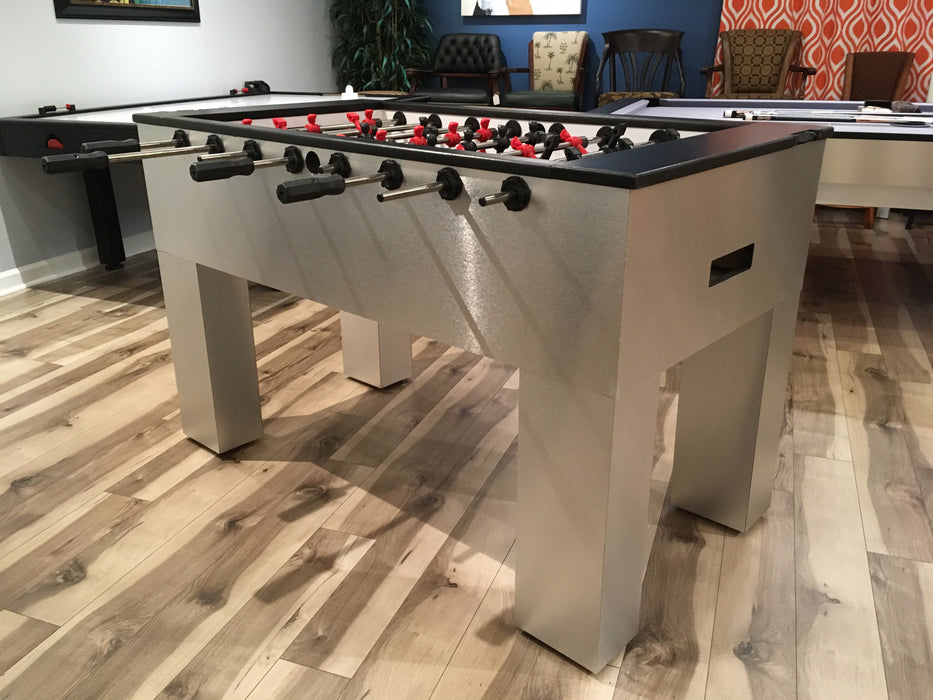 Modern Foosball Table Brushed Aluminum corner