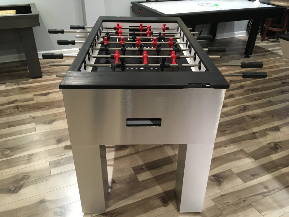 Modern Foosball Table Brushed Aluminum end
