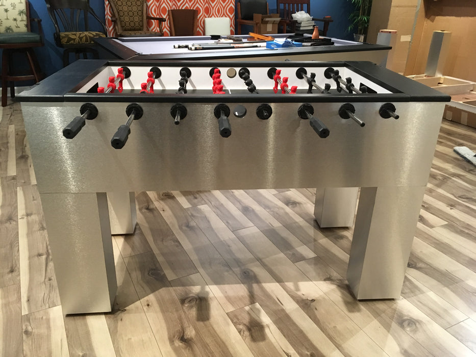 Modern Foosball Table Brushed Aluminum side